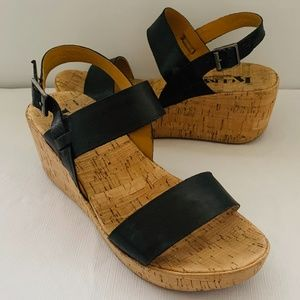 Kork-Ease Austin Wedge Leather Strapped Heels 9